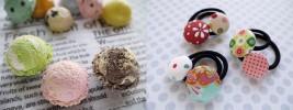 アイスクリームのマグネット&くるみボタンのヘアゴム